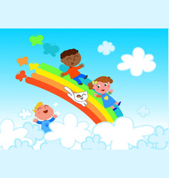 happy children on rainbow vector image