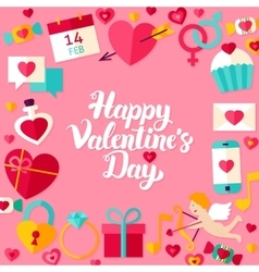 Happy valentine day lettering postcard vector