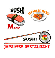 Icons for japanese sushi seafood restaurant vector