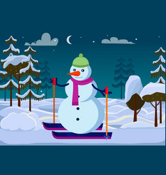 Isolated snowman on skies outside trees evening vector