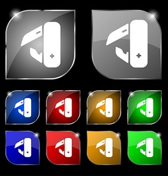 Knife picnic icon sign set of ten colorful buttons vector