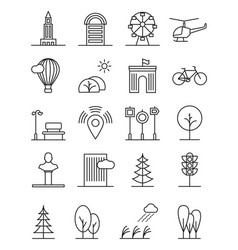 line art house urban landscape icons linear trees vector image vector image