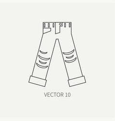 Line flat icon wear - ripped jeans punk vector