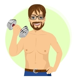 Man practicing fitness exercise with dumbbell vector