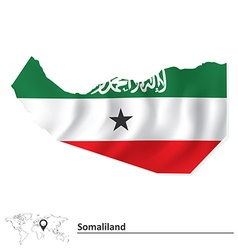 Map of Somaliland with flag vector image