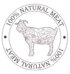 Natural meat stamp with goat vector image vector image
