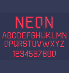 Neon light alphabet vector