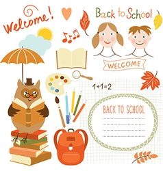 set of back to school elements school supplies vector image