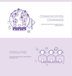 set of communication commands and consulting vector image vector image