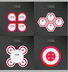 Set of presentation design neon pink color vector