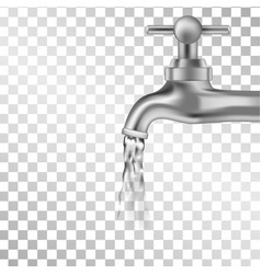 silver tap with water on transparent background vector image vector image