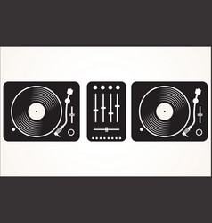 simple black and white dj mixing turntable set vector image