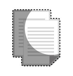 sticker grayscale silhouette with document file vector image vector image