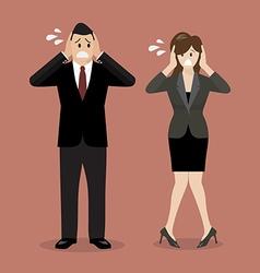 Stressed business man and woman vector