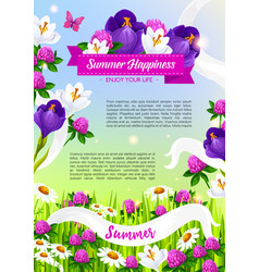 Summer holiday poster of blooming flowers vector