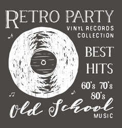 t-shirt design retro party with vinyl record vector image