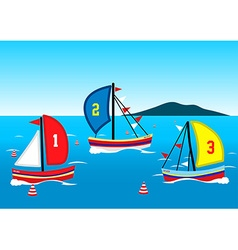 Three sailing boats race on the water vector