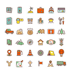Travel camping location flat icons collection vector