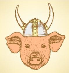 Viking Helmet Pig vector image