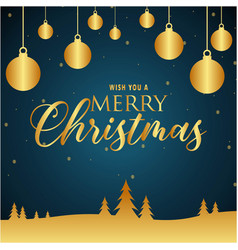 Wish you a merry christmas gold blue background ve vector