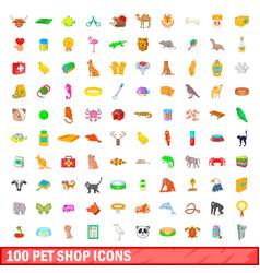 100 pet shop icons set cartoon style vector