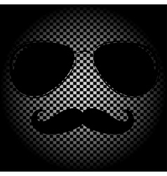 man face outline with sunglasses vector image