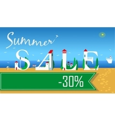 Summer sale thirty percents summer beach vector