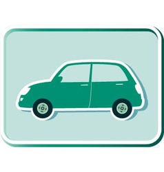 Button with green retro car vector