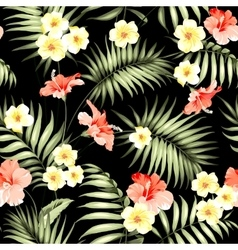 Tropical flowers and jungle palms vector