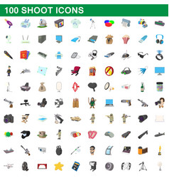 100 shoot icons set cartoon style vector