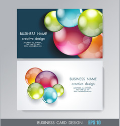 Business card design with bright balls vector