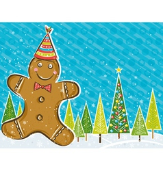 Background with gingerbread man and forest of pine vector