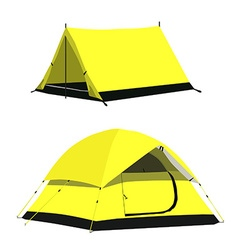Yellow camping tents vector