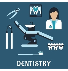 Dentist profession flat icons and symbols vector