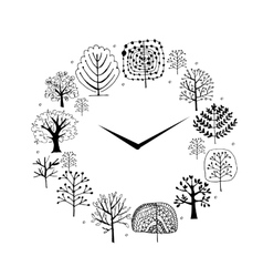 Seasons concept trees on watches sketch for your vector