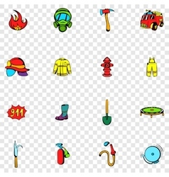 Firefighter set icons vector