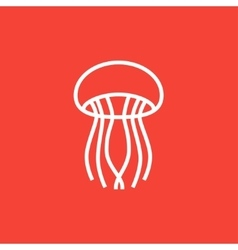 Jellyfish line icon vector