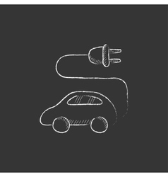 Electric car drawn in chalk icon vector