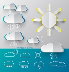 Weather icons - paper cut and outline simple vector