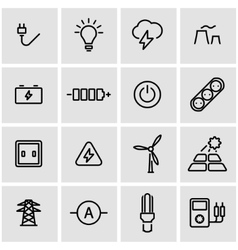 Line electricity icon set vector