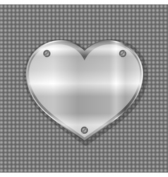Metal heart label on steel background vector