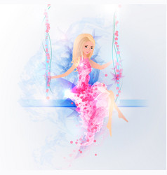 a girl is sitting on a swing in a gentle dress of vector image