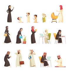 Arabs family cartoon icons set vector