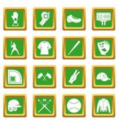 Baseball icons set green vector
