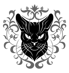 black cat face decoration vector image vector image