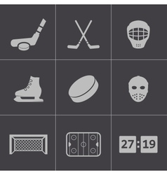 Black hockey icons set vector