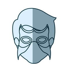 Blue silhouette with face of man superhero with vector
