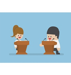 Businessman debating on the podium vector image
