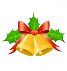 Christmas gold bells vector image