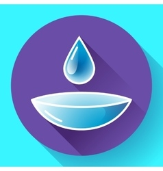 Contact lense with water drop icon Flat design vector image vector image